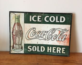 """Genuine rare 1930's """"Ice cold Coca-Cola sold here"""" tin sign 28"""" x 20"""""""