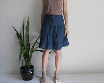Vintage S/M tiered cotton skirt