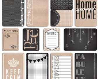 """Scrapbooking - set of 60 cards double-sided cards - """"slate and kraft"""""""