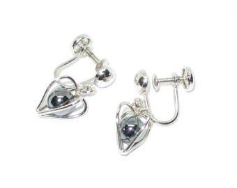 Sterling Silver & Hematite Sorrento Heart Earrings
