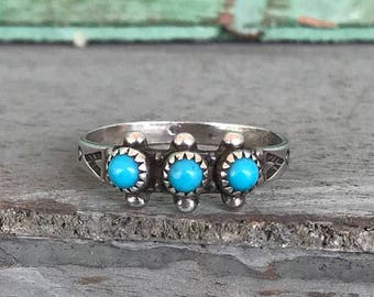 Size 6.25 Bell Trading Post Sterling Silver Turquoise Ring