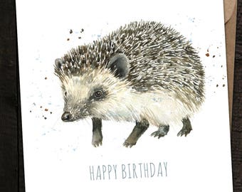 Hedgehog Card, Hedgehog Birthday Card, Hedgehog, Country, British Wildlife, Watercolour Hedgehog Card