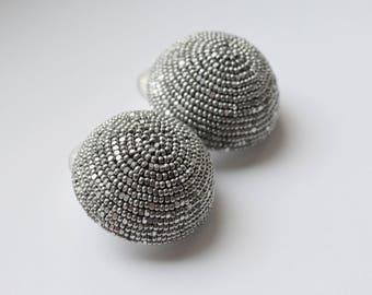 Beads earrings.  One ball earrings. Handmade.