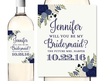 Will you be my Bridesmaid Wine Labels, Ask Bridesmaid, Bridesmaid Wine Bottle Labels, Maid of Honor, Bridesmaid Gift, Wine Labels #CL132