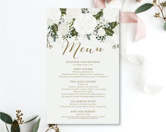 Wedding Menu Template, DIY Wedding Menu, Wedding Menu Printable, Menu Template, Floral Wedding Menu, INSTANT Download PDF Template #CL112