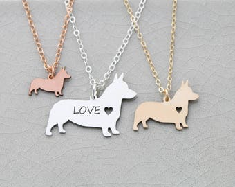 Corgi Dog Charm Necklace • Welsh Corgi • Pet Jewelry Corgi Personalize Dog Breed New Dog • Corgi Custom Pet Necklace Animal Rescue Dog