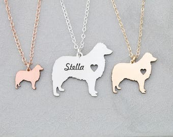 Aussie Dog Necklace • Australian Shepherd Gift Aussie • Personalized Pet Name New Dog Present • Custom Pet Memorial Dog Pendant Pet Charm