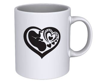 Pregnant Woman - Human Fetus in Mothers Womb - Heart Shape - Cool - Coffee Mug - Best Gift !!!