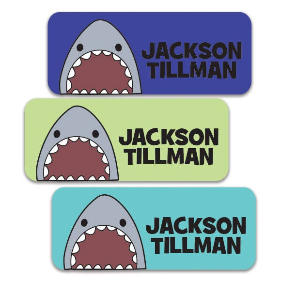 Boys Premium Name Labels: Shark Name Labels Boys Waterproof Stickers Daycare Labels