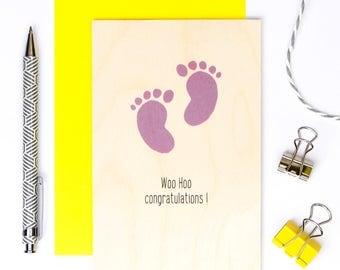 Woo Hoo Congratulations Wooden Card; New Baby Card; Baby Shower Card; Baby Girl Card; New Parents Card; Baby Feet; Babies; GC612