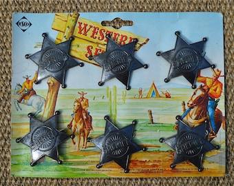 A sheet of six cool original 1970's vintage metal Sheriff badges wild west star