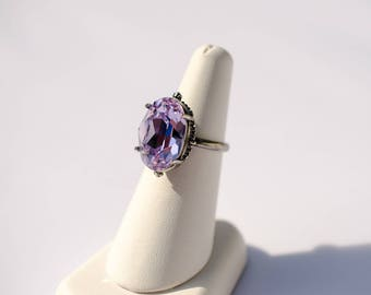 Antique silver rosette set Swarovski Violet Crystal cabochon ring