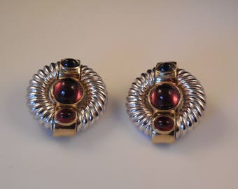 Vintage Ciner Silver Gold Cabochon Clip Earrings