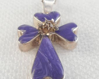 Vintage Taxco Sterling Charoite Cross Necklace Taxco Purple Stone Necklace 80's Charoite Necklace on Tiffany Chain Religious Gift for Her