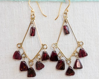 Garnet, natural stone chandelier earrings