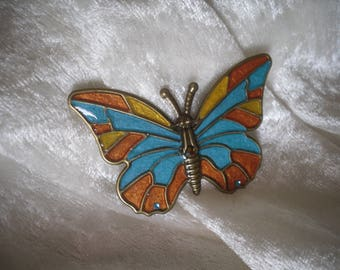 colorful butterfly, creation, metal, orange turquoise cabochon embellishment
