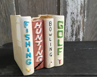 Hunting fishing bowling golf book planter 1960s vase great dad gift