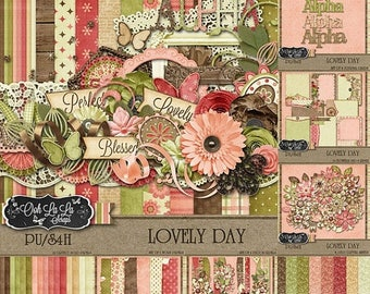 On Sale 50% Off Lovely Day Collection Digital Scrapbook Kit - Digital Scrapbooking