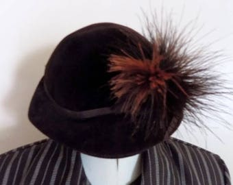 60s Brown Cloche Hat with Feather by Monte Carlo Made in Italy