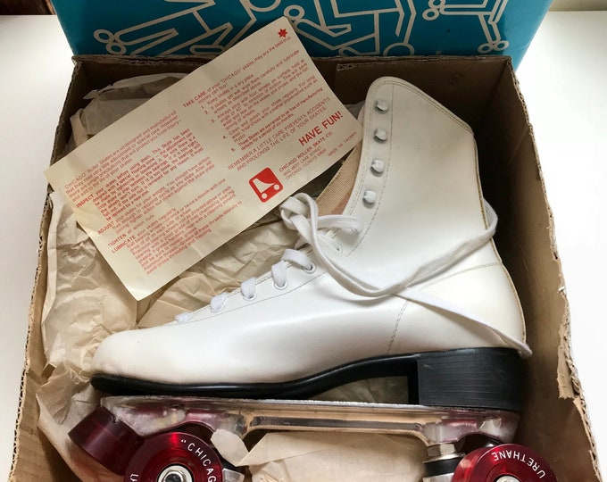 Featured listing image: 70s Roller Skates, New Old Stock, Chicago, Womens Skates, Womens Size 10, New In Box, 1970s, Vintage Skates, White, Red, Roller Disco