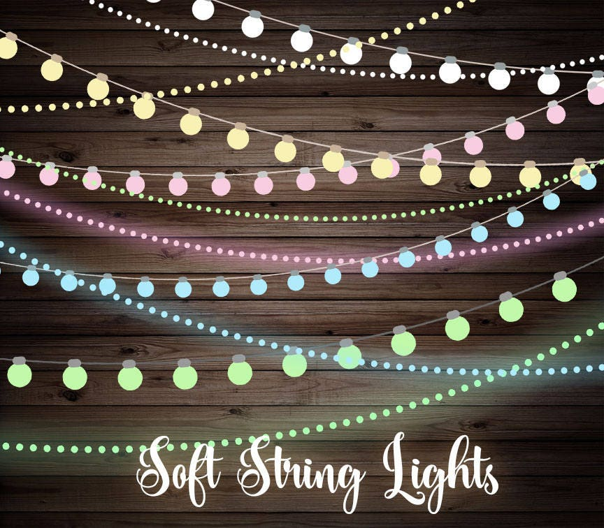 String Lights Art : Soft String Lights Clipart, Wedding string lights, baby shower string lights, pastel lights clip ...