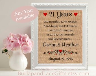 21, 21st Anniversary, 21 Years Together, Gift to Wife, Gift to Husband, Anniversary Gift, Parents Anniversary, Wedding, Birthday (ana207-21)