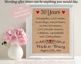 50th wedding anniversary, Gift to Wife, Gift to Husband, 50, 50th, 50th anniversary, wedding, Children, Grandchildren, kids (ana207-50)