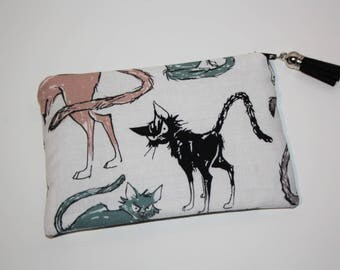 Coin purse zippered cotton disgruntled cat!  Alexander henry fabric