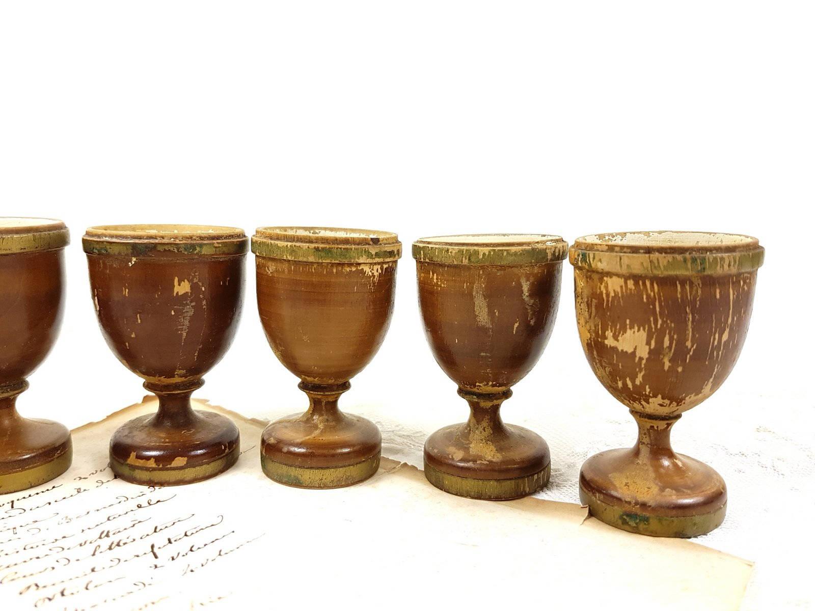 6 antique wooden Egg Holders Egg Cups Egg Stands French Vintage gold ...