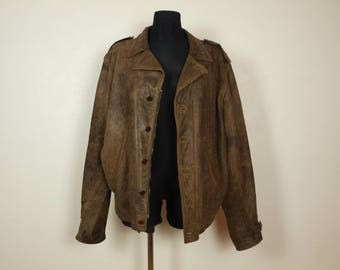 Brown Pilot jacket, Made in Italy size XL, Leather jacket, brown distressed leather bomber jacket Gerard LASER Steampunk Lucky Raiders
