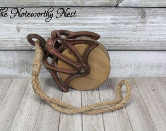 DIY Pulley Lighting / Rustic Decor / Pully / Wooden Pulley / Vintage Style Pulley / Pulley Light / Barn Pulley / Farm Pulley / Industrial