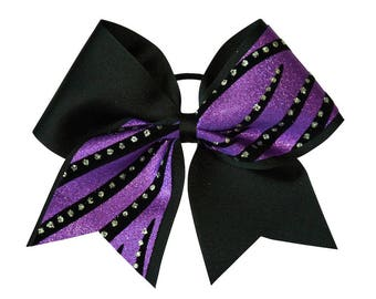 Black and Purple Streamers Cheer Hair Bow
