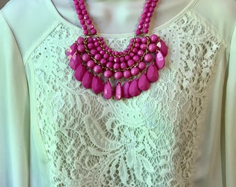 Fuchsia Magenta Hot Pink Bubble Bib Beaded Chandelier Muliti Layered Statement Necklace