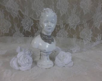 "Vintage French Country Girl 10"" Shabby Cottage Chic Plaster Bust Statues"