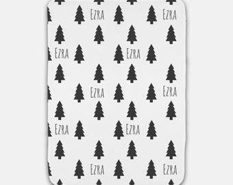 Personalized Baby Blanket - Tree - Black, Gray and White - Boy Nursery Decor - Woodland Nursery - Christmas Baby Gift - Baby Shower Gift