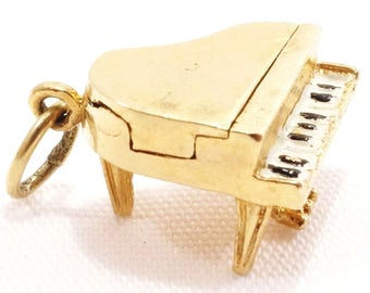 Vintage 14k Solid Gold 3D Piano Charm Top Opens Enameled Keys Unique Musical