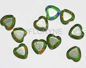 Set of 10 green heart beads Millefiori glass