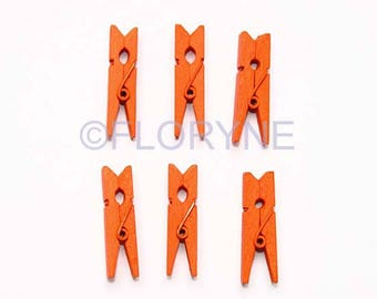 6 clips Orange wooden clothes pins