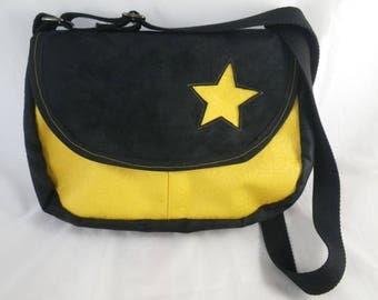 Sac024 - Black and mustard yellow Messenger bag