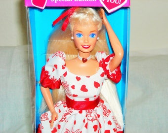 """SALE 12.99! Barbie Special Target Edition """"Valentine""""/1994/Wearing White Satin Dress with Hearts and Cupid Design/New In Box/Darling!!"""
