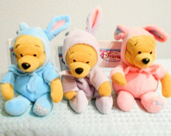 "Disney Beanbag Plush Easter ""POOH""/Pink, Blue And Lavender Editions/Blue And Pink From Australia & Lavender, US Disney Store/New With Tags"