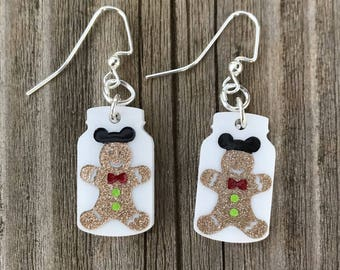 Gingerbread Mickey Mouse Inspired Mason Jar Dangle Earrings