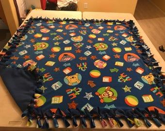 Pooh and friends hand tied fleece blanket