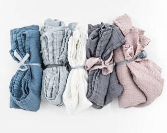 Set of 2 - Large linen waffle bath towel / Washed linen bath sheet / READY TO SHIP