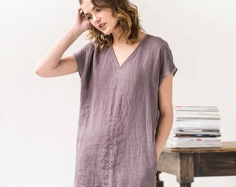 Linen dress in V neck MONACO / Washed linen tunic / available in 34 colors