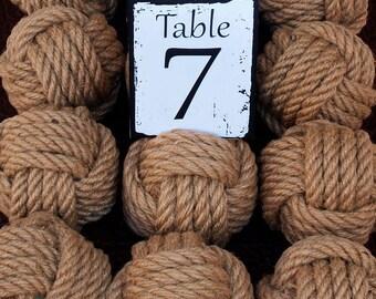 Coastal Wedding Knots Hemp Rope 8 Table Number Holders for your Nautical Wedding Monkey Fist Rope Knots (brn1)