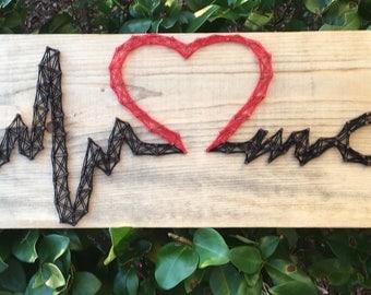 Stethoscope Heartbeat String Art wood Sign Wall art, Home Decor, Wall Decor