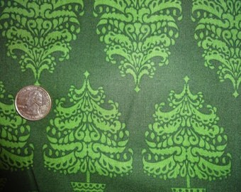 """Christmas XMAS Green Damask Trees 60"""" inch wide JoAnn Cotton Quilting Fabric BTY"""