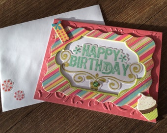 Framed Happy Birthday Chipboard Card in Bright, Contemporary Colors, A2 Size, Beheweled and Embossed, in Pink, Turquoise, Lime Green, White,