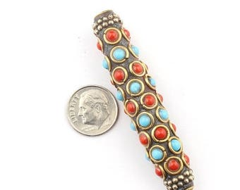 June Clearance Sale 1 Pc Tibetan Tube Shape Brass Beads With Blue Copal & Coral Inlay Bead- Fancy Bead 65mmx14mm PFA157